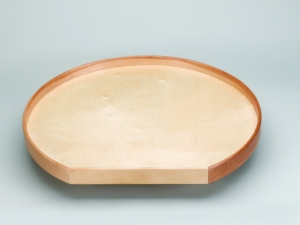 D-Shaped Lazy Daisy Tray with Aluminum Bearings - Natural Wood