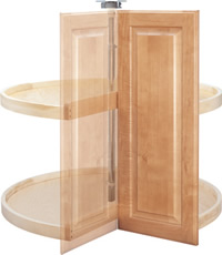 Pie-Cut Two Shelf Dependently Rotating Lazy Susan
